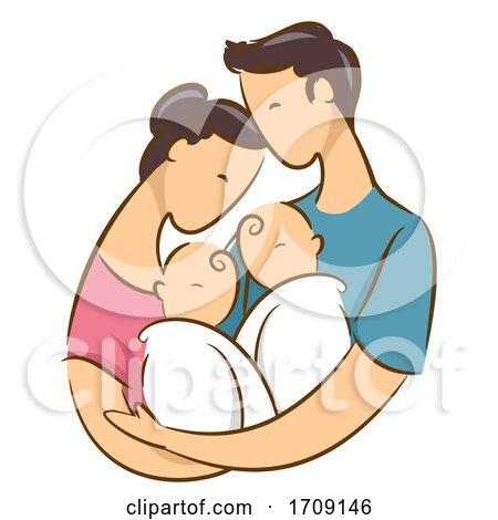 Parent with Newborn Twins by BNP Design Studio