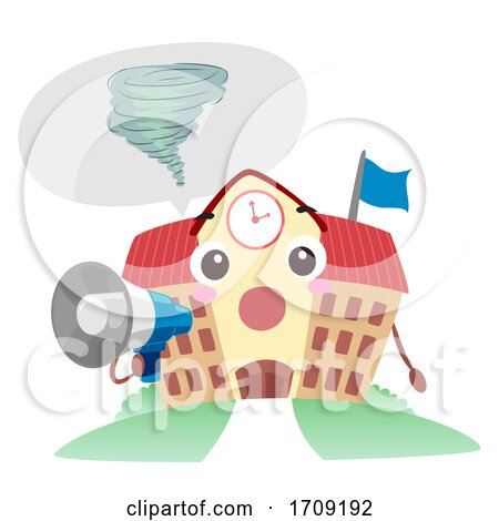 Mascot School Tornado Drill Megaphone Illustration by BNP Design Studio