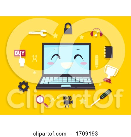 Mascot Laptop Computer Programming Illustration by BNP Design Studio