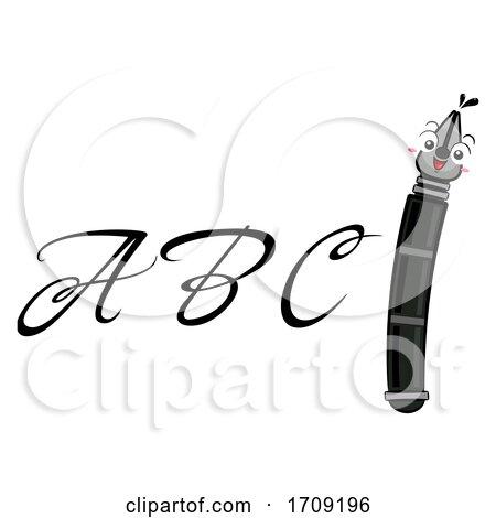 Mascot Fountain Pen Calligraphy Illustration Posters, Art Prints