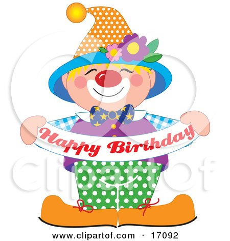 "Cute And Friendly Party Clown Entertaining At A Birthday Party While Holding A Banner That Reads ""Happy Birthday"" Clipart Illustration by Maria Bell"