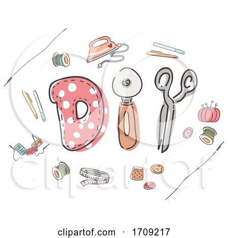 Sewing Lettering Illustration by BNP Design Studio