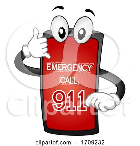 Mascot Phone Call Emergency 911 Illustration by BNP Design Studio