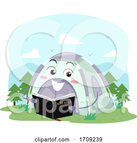 Mascot Tent Hold Bible Church Camp Illustration by BNP Design Studio