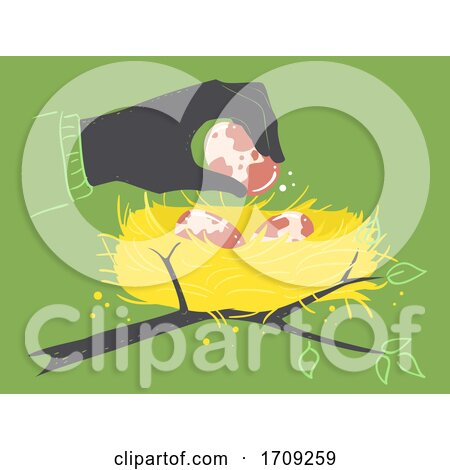 Hand Egg Theft Wild Crime Nest Illustration Posters, Art Prints