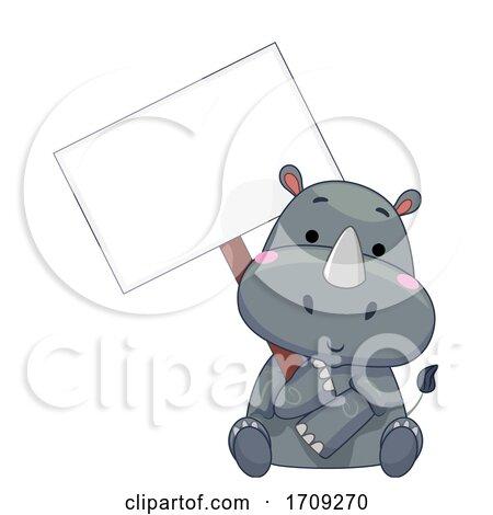 Mascot Rhino Hold Signboard Illustration by BNP Design Studio