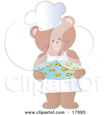 Cute Bear Wearing An Apron And A Chefs Hat, Carrying A Tray Of Fresh Chocolate Chip Cookies Clipart Illustration by Maria Bell