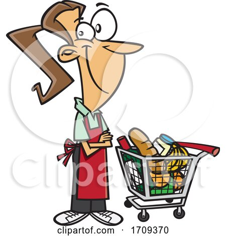 Cartoon Female Grocer with a Cart Full of Food by toonaday