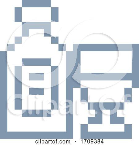 Wine Bottle Glass 8 Bit Video Game Art Icon Posters, Art Prints