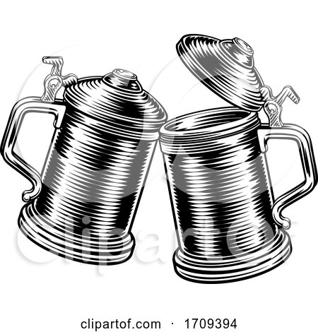 Beer Stein German Oktoberfest Pint Tankard Mugs by AtStockIllustration
