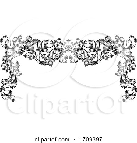 Border Pattern Scroll Leaf Baroque Vintage Motif by AtStockIllustration