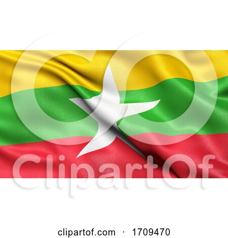3D Illustration of the Flag of Myanmar Waving in the Wind by stockillustrations