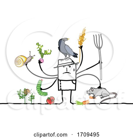 Stick Man Scarecrow or Farmer with Pests Posters, Art Prints
