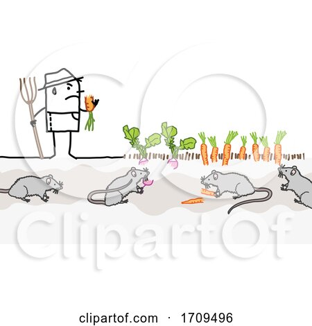 Stick Man Farmer with Rats Eating His Crops Posters, Art Prints