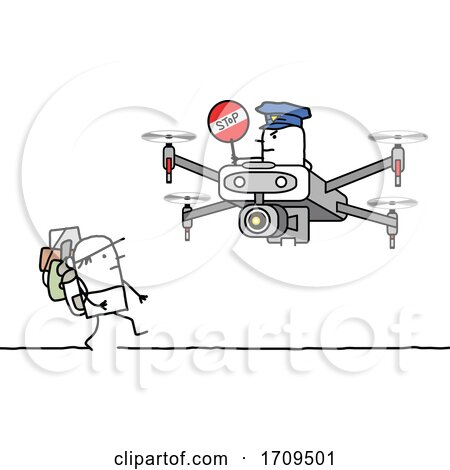 Stick Man Hiker Being Approached by a Drone Officer Posters, Art Prints