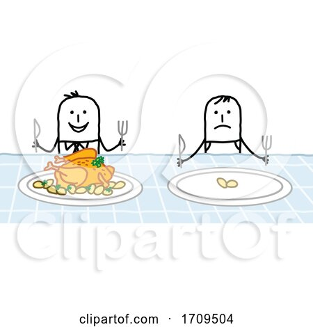Stick Business Man Eating Good While an Employee Has a Small Portion Posters, Art Prints