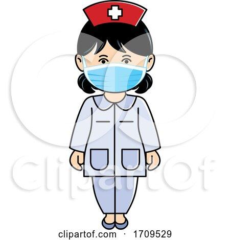 Nurse Wearing a Face Mask by Lal Perera