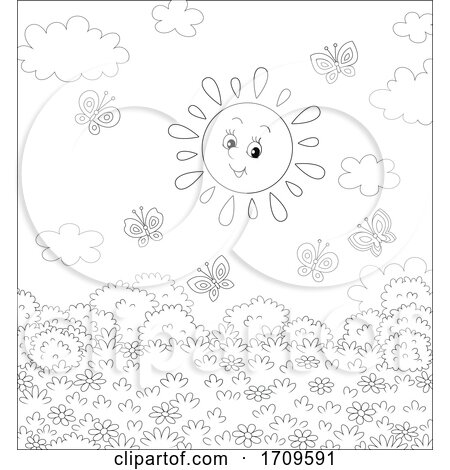 Black and White Happy Sun and Butterflies by Alex Bannykh