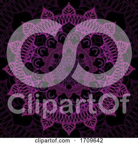 Pink and Black Mandala Design Background by KJ Pargeter