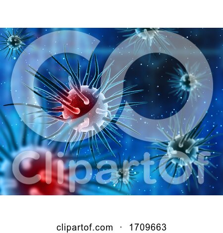 3D Medical Background with Abstract Virus Cells and Floating Particles by KJ Pargeter
