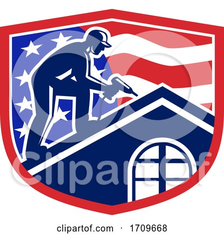 Roofer Construction Worker Working Shield Retro Posters, Art Prints