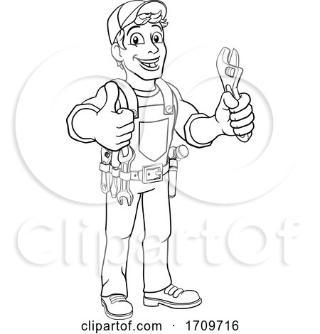Mechanic Plumber Wrench Spanner Cartoon Handyman Posters, Art Prints