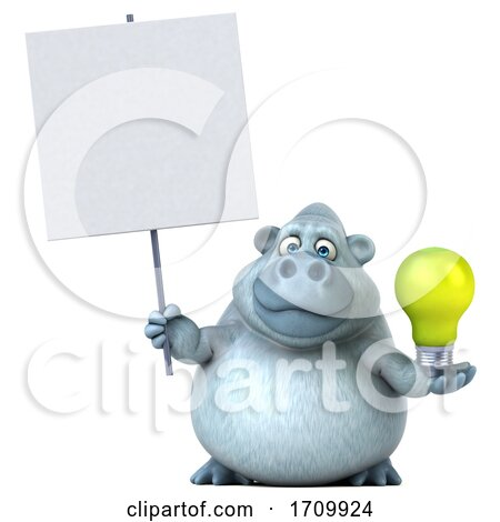 3d White Monkey Yeti Holding a Light Bulb, on a White Background Posters, Art Prints