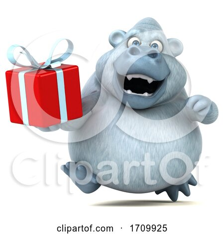3d White Monkey Yeti Holding a Gift, on a White Background Posters, Art Prints
