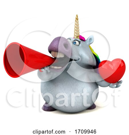 3d Chubby Unicorn, on a White Background Posters, Art Prints