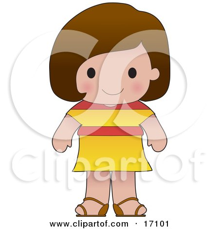 Cute Spanish Girl Wearing A Flag Of Spain Shirt Clipart Illustration by Maria Bell