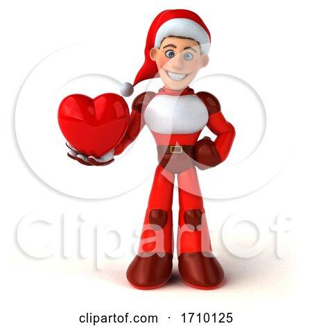 3d White Male Super Hero Christmas Santa, on a White Background Posters, Art Prints