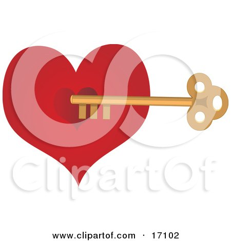 Golden Skeleton Key Unlocking a Red Valentines Day Heart Clipart Illustration by Maria Bell