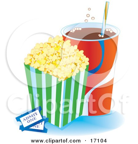 Container Of Buttered Popcorn By A Cup Of Fountain Soda And Two Movie Tickets Clipart Illustration by Maria Bell