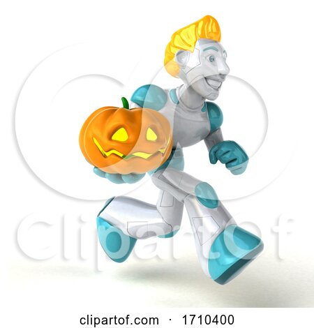3d Blond Haired Male Robot Character, on a White Background by Julos