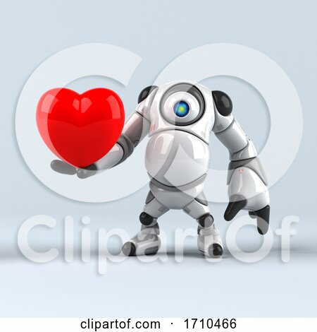 3d Round Robot Character, on a Shaded Background Posters, Art Prints
