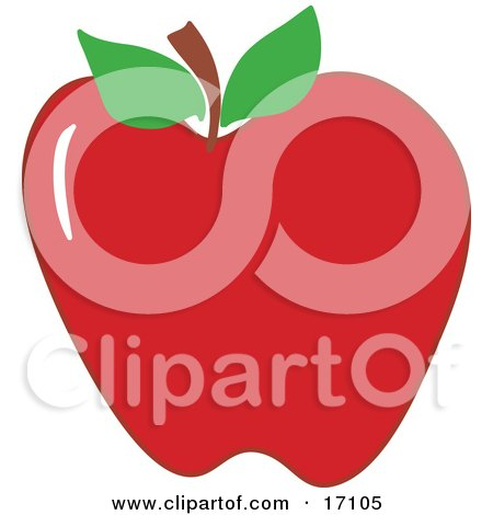 Plump Red Apple With A Stem And Two Green Leaves Clipart ...