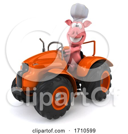 3d Chef Pig, on a White Background Posters, Art Prints