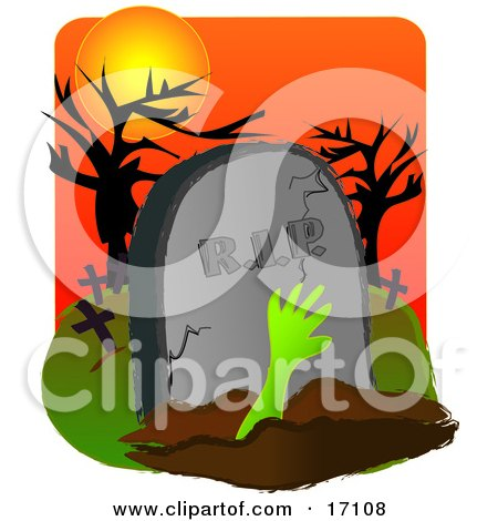 Green Arm Reaching Out From A Burial Grave In Front Of A Headstone In A Cemetery On Halloween Clipart Illustration by Maria Bell