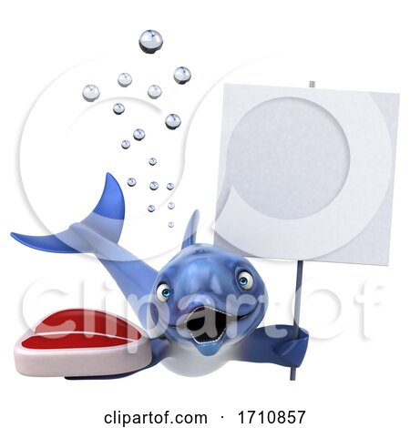 3d Dolphin, on a White Background Posters, Art Prints