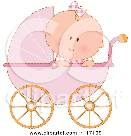 Caucasian Baby Girl In A Pink Stroller Carriage, Looking Over The Side Clipart Illustration by Maria Bell