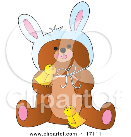 Cute Bear Wearing Easter Bunny Ears And Playing With Two Yellow Chicks  Posters, Art Prints