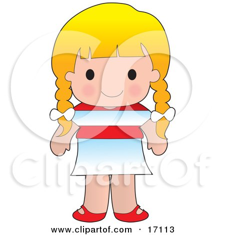 Cute Blond Austrian Girl Wearing A Flag Of Austria Shirt Clipart Illustration by Maria Bell