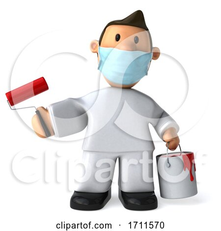 3d Painter Worker Wearing a Mask, on a White Background Posters, Art Prints