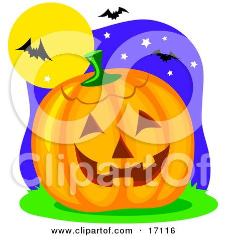 Carved Halloween Pumpkin Resting Under Vampire Bats That Are Flying In The Night Sky Clipart Illustration by Maria Bell