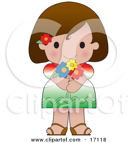 Cute Mexican Girl Wearing A Flag Of Mexico Shirt  Posters, Art Prints