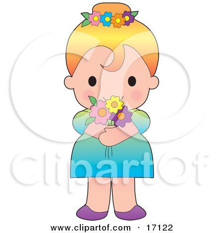 Sweet Blond Caucasian Girl In A Dress, Wearing Flowers In Her Hair And Holding A Bouquet Clipart Illustration by Maria Bell
