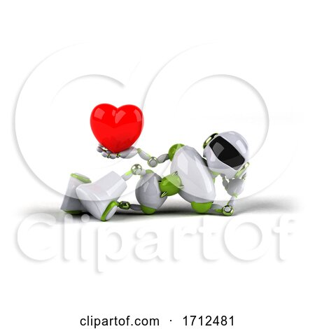 3d Green and White Robot, on a White Background Posters, Art Prints