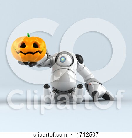 3d Round Robot Character, on a Shaded Background by Julos