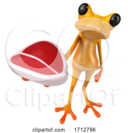 3d Yellow Frog, on a White Background Posters, Art Prints