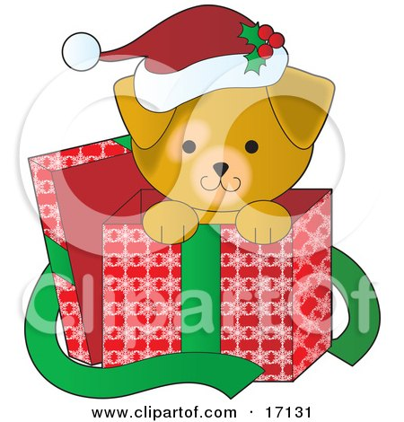 Cute Yellow Lab Puppy Dog Wearing A Santa Hat With Holly On It, Peeking Out Of A Christmas Present Box After Being Given As A Gift Clipart Illustration by Maria Bell